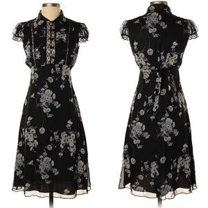 Anna Sui Anthropologie Black Floral Midi Dress